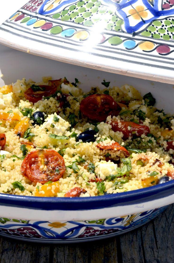 La via delle spezie: Cous cous con pomodorini confit , feta e peperoni...