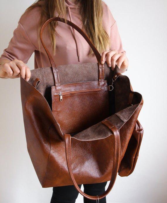Cognac Tote Bag Genuine Leather Travel Bag Everyday Shoulder Bag Shopping Bag