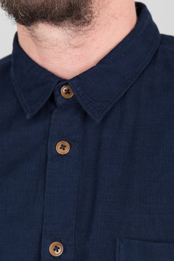 Baby Cord Shoulder Patch Shirt - Navy