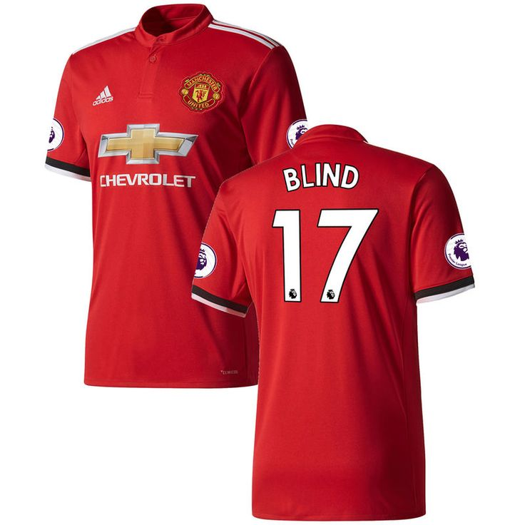 Daley Blind Manchester United adidas 2017/18 Home Replica Patch Jersey - Red/White