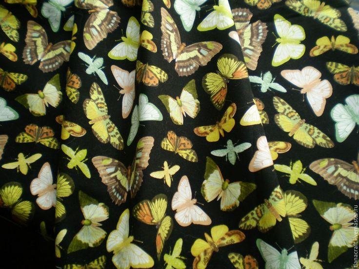 """Купить Ткань для пэчворка """"Бабочки"""". Американский хлопок - ткани для пэчворка, ткань хлопок 100%"""