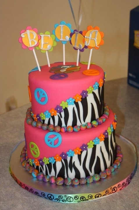 Zebra print and peace sign cake 2 tone; Peace Cake:  Customer interested in getting one of these themed cakes made.  This is some great inspiration!