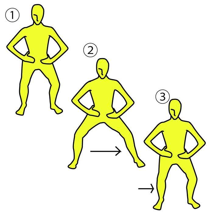 iPhoneアプリは→ https://itunes.apple.com/jp/app/minnaga-shouseta!1ri5fen-shuidemo/id581817739?mt=8 【カニ歩きで下半身トレ!】 ■やり方 ※画像参照  1.背筋を伸ばして、両脚を  肩幅に開き、両手は腰にあて  ひじを開きます。  2.お尻を後方に突き出すように  ひざが45°程度になるところまで  腰を落とします。  3.腰の高さをキープしたまま  真横に片足を出し、肩幅の  倍くらいまで開きます。  4.開いた足を反対側の足を  内側に、肩幅まで引き寄せます。  この動きを左右交互に2〜3分間行いましょう。  ■POINT 1.腰の高さが変わらないようにしましょう。  2.背筋は常に伸ばした状態で、  視線は正面に向けましょう。  3.無理は禁物!キツイと感じたら  そこでやめましょう。  https://itunes.apple.com/jp/app/minnaga-shouseta!1ri5fen-shuidemo/id581817739?mt=8
