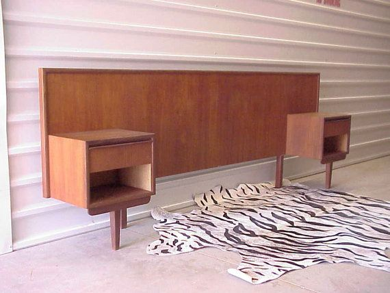 Mid Century Danish Modern Teak Headboard w/Attached Nightstands - Queen or Full on Etsy, $995.00