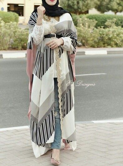 Striped abaya