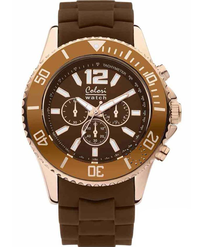 COLORI Cool Chrono Rose Gold Brown Silicone Strap Τιμή: 69€ http://www.oroloi.gr/product_info.php?products_id=35125