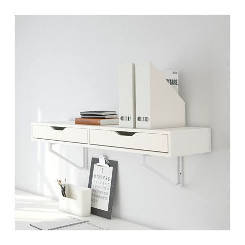 EKBY ALEX / EKBY LERBERG Shelf with drawer, white 46 7/8x11 3/8