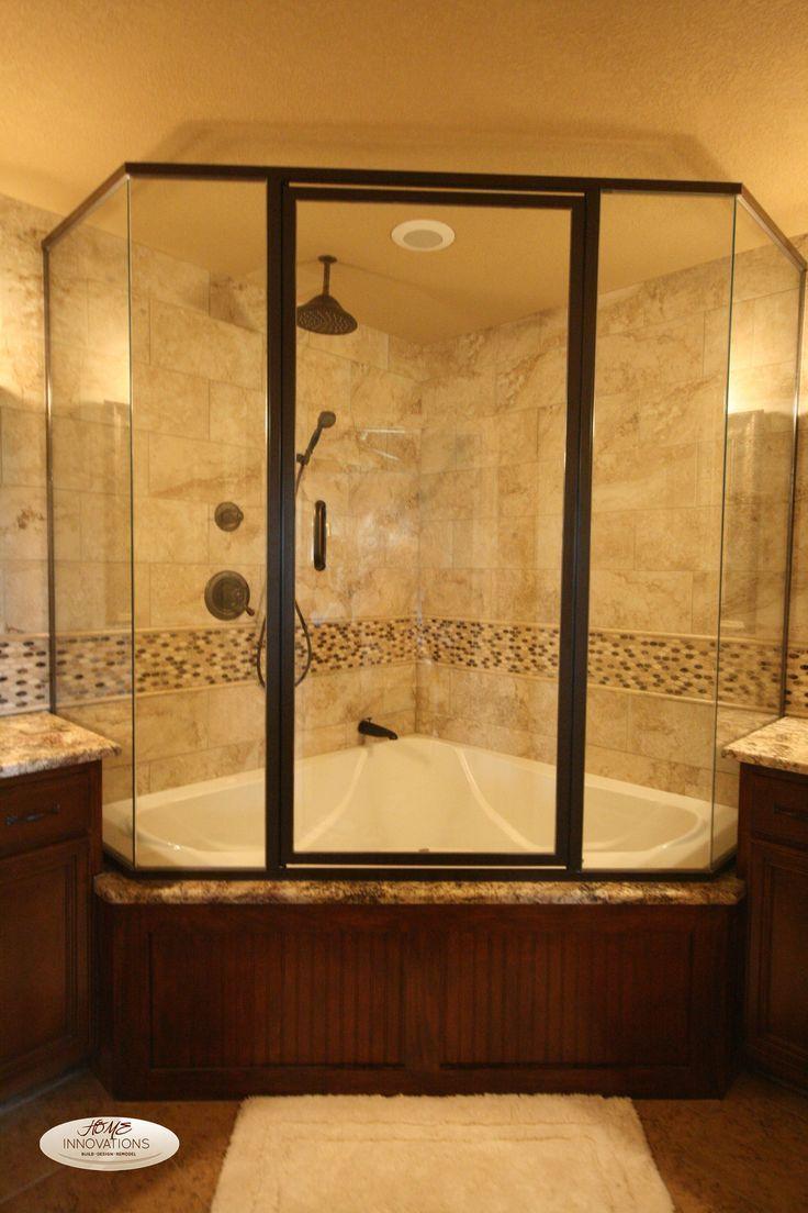 Craftsman Master Bathroom With Limestone Tile Floors Rain Shower Head Tiled Wall Showerbath Handheld