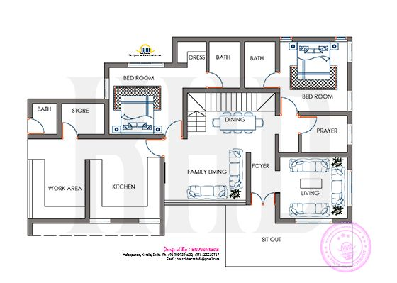 Floor plan and elevation by BN architects - Kerala home design and floor plans