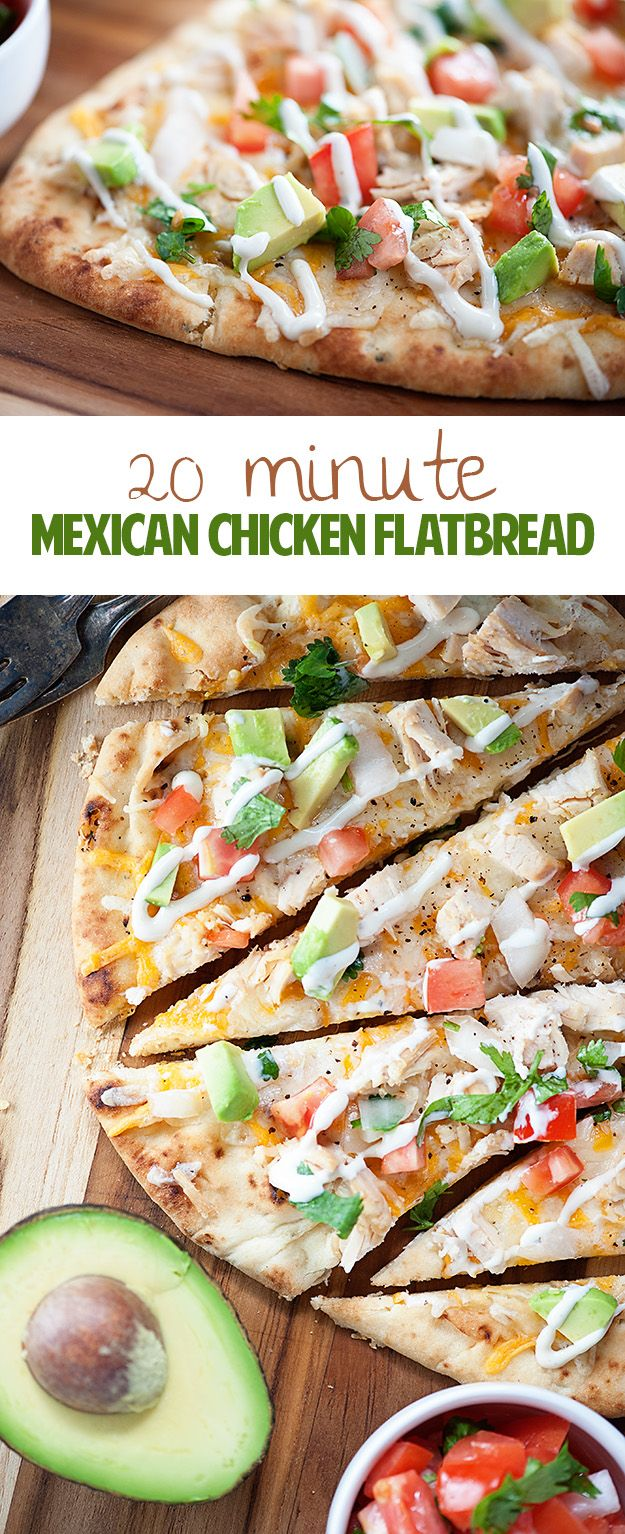This quick and easy dinner recipe is ready in just 20 minutes! Mexican Chicken Flatbread... healthy, quick, and loaded with chicken, cheese, and pico de gallo!