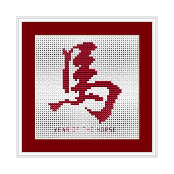 Year of the Horse, Chinese Zodiac Cross Stitch Chart