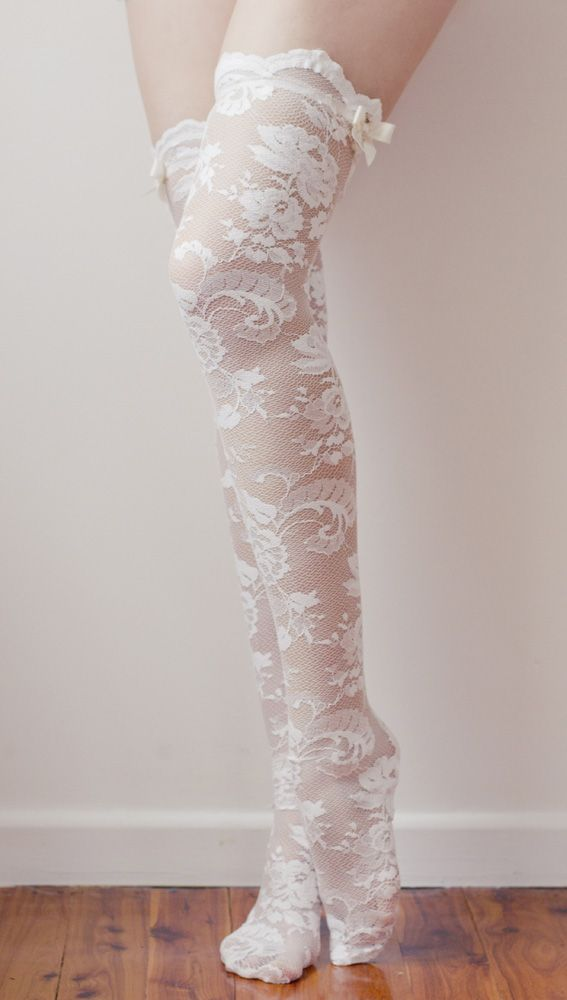Lace thigh highs.