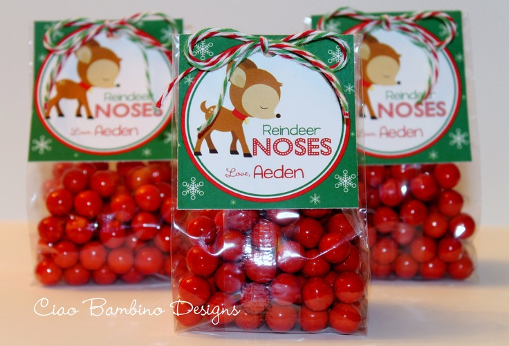 Personalized Reindeer Noses Christmas Favor Tags - DIY Printable Tags - Rudolph. $6.00, via Etsy.