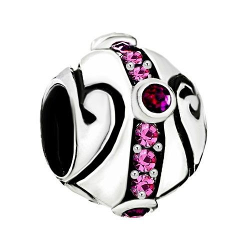 925 Sterling Silver Round Birthday October Pink Cz Crystals Ring Spacer Bead For European Charm Bracelets kSW26
