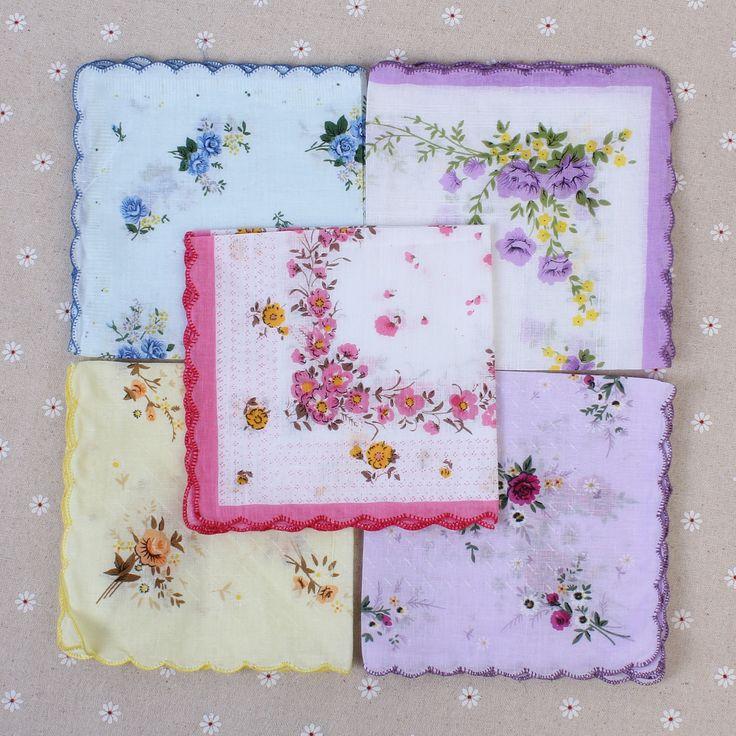 10pcs/lot Lady Plain Floral Printed Cotton Handkerchief Women Wedding Hankies Square Paisley Hanky Women's Pocket Square 30*30cm
