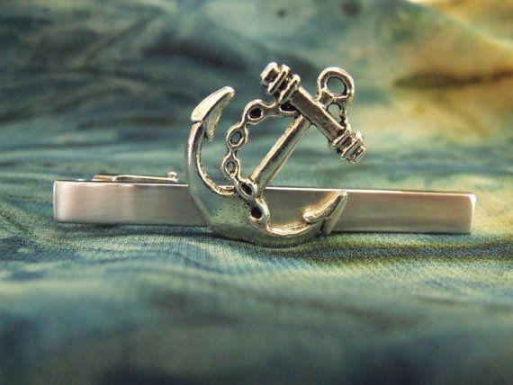 Mens Anchor Tie Clip Tie Bar Accessory by AGothShop on Etsy, $18.50