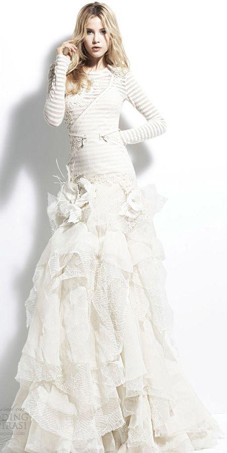 Yolancris Long Sleeve Wedding Dress : Yolan cris angola striped long sleeve wedding dress