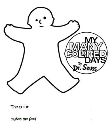 my many colored days the color _____ makes me feel ______ coloring sheet