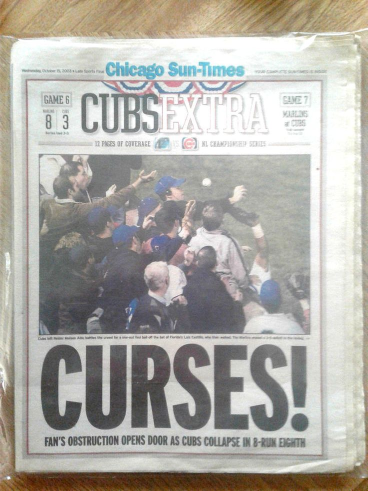 Chicago Sun Times Bartman Ball Cubs CURSES Oct 15, 2003 Game Six 12 page cover #ChicagoCubs