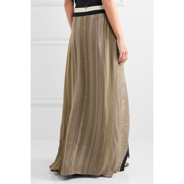 Zeus+Dione Lotus silk-jacquard and silk-crepe maxi skirt ($900) ❤ liked on Polyvore featuring skirts, long silk skirt, metallic jacquard skirt, floor length skirt, brown maxi skirt and metallic skirts