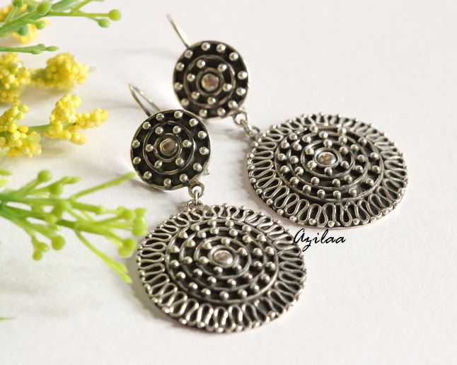 Artisan sterling silver ethnic handmade earrings