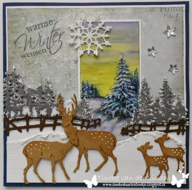 Card by DT member Tineke with Craftables Tiny's Pinetrees (CR1287), Tiny's Winter Village (CR1288), Tiny's Deer (CR1289) and Collectables Christmas Village (COL1330) from Marianne Design