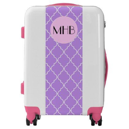 #Monogram - Moroccan Trellis Latticework - Purple Luggage - #custom #luggage #suitcase #suitcases #bags #trunk #trunks