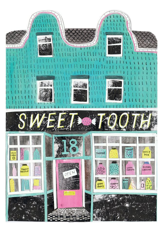 Louise Lockhart, sweet tooth, sweet shop, illustration, printmaking, drawing, pattern, colour, print, texture, mark making