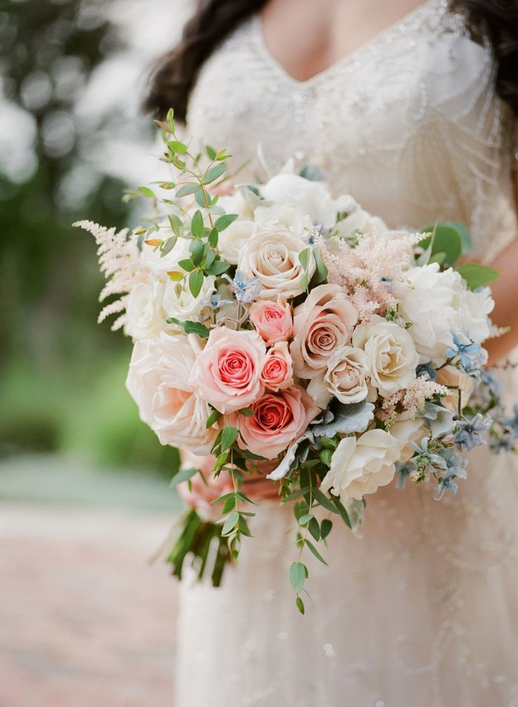 Beautiful pastel pink and blue bridal bouquet