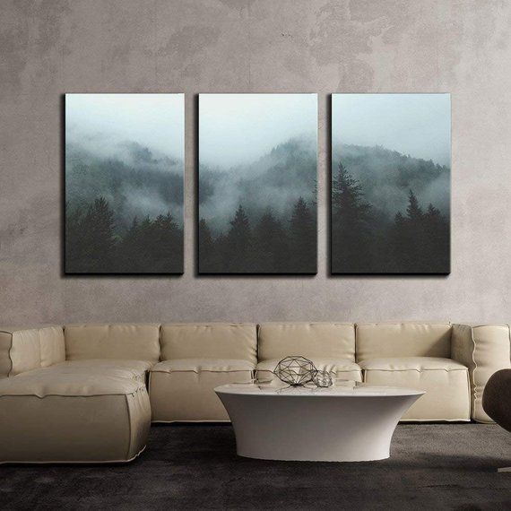 Wall26 3 Piece Canvas Wall Art Mountain Forest In Fog Modern Home Decor Stretched And Framed Read 3 Piece Canvas Art Canvas Art Wall Decor Wall Art Decor