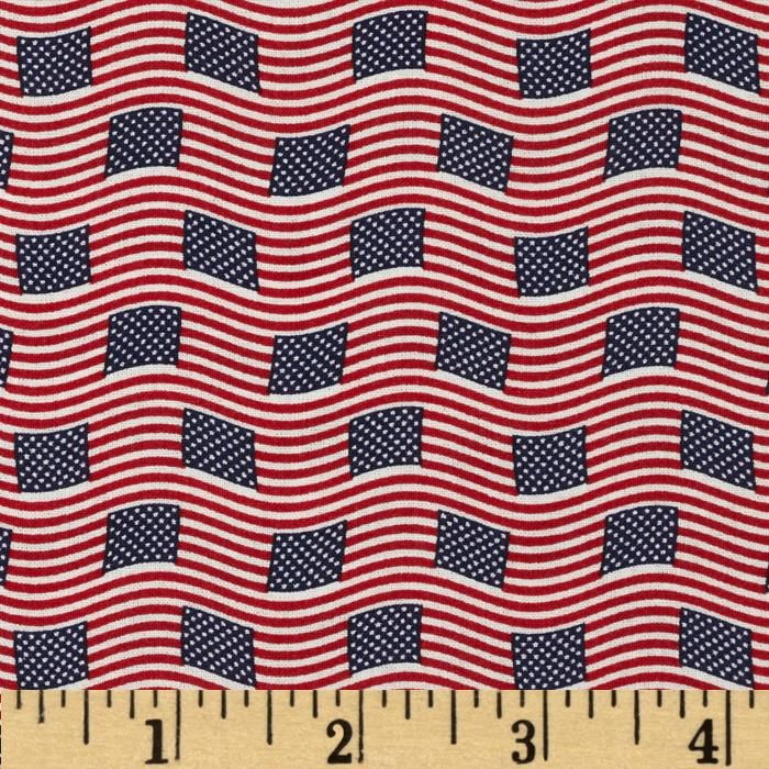 Made in the USA Small Flags Red, White, Blue from @fabricdotcom  This cotton print fabric is made in the USA and perfect for quilting, apparel and home decor accents. Colors include red, white and blue.
