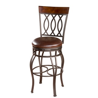 @Overstock - The hand painted frame, wood back accent and brown leather seat makes this stool a timeless classic. Ease in and out of this stool with the help of the return swivel.  http://www.overstock.com/Home-Garden/Derby-34-inch-Swivel-Bar-Stool/5141091/product.html?CID=214117 $198.99