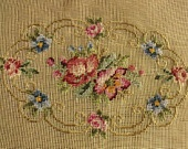 "23x18"" PREWORKED Needlepoint Canvas - Pink Blue Flowers Garland"