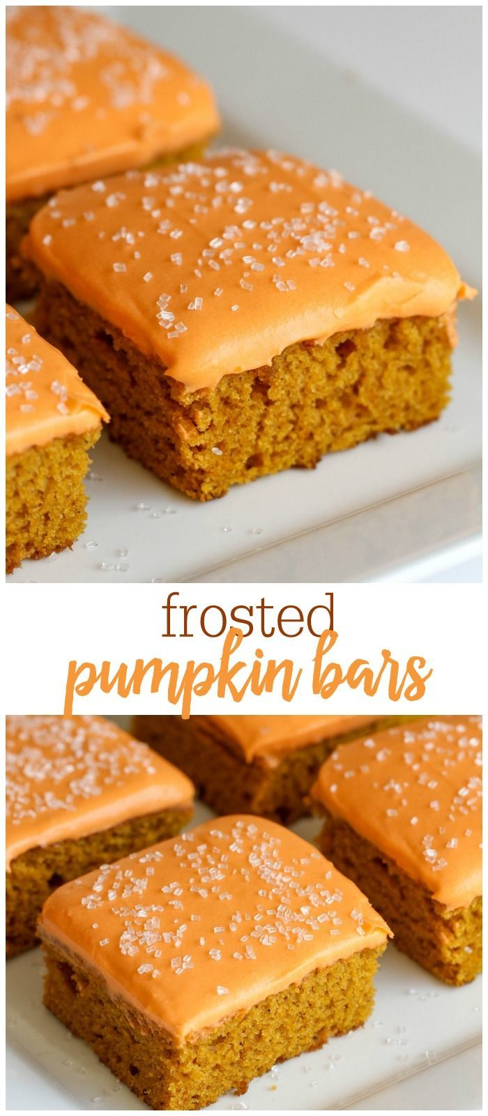 Soft and flavorful Pumpkin Bars with a homemade Cream Cheese frosting. { http://lilluna.com }