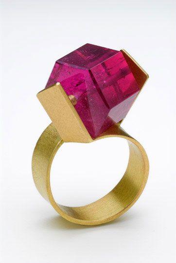 Bold Pink-Tourmaline Ring in 18ct gold by the Greek designer Daphne Krinos.