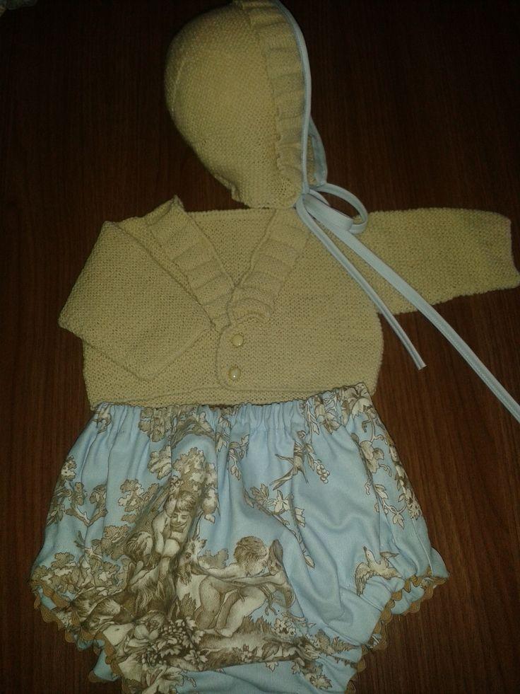 Conjunto de bombacho, chaqueta de punto y capota de punto, para niño de 1 año