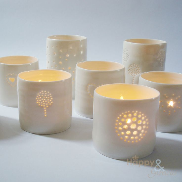 Porcelain topiary tealight candle holder by Luna Lighting ...