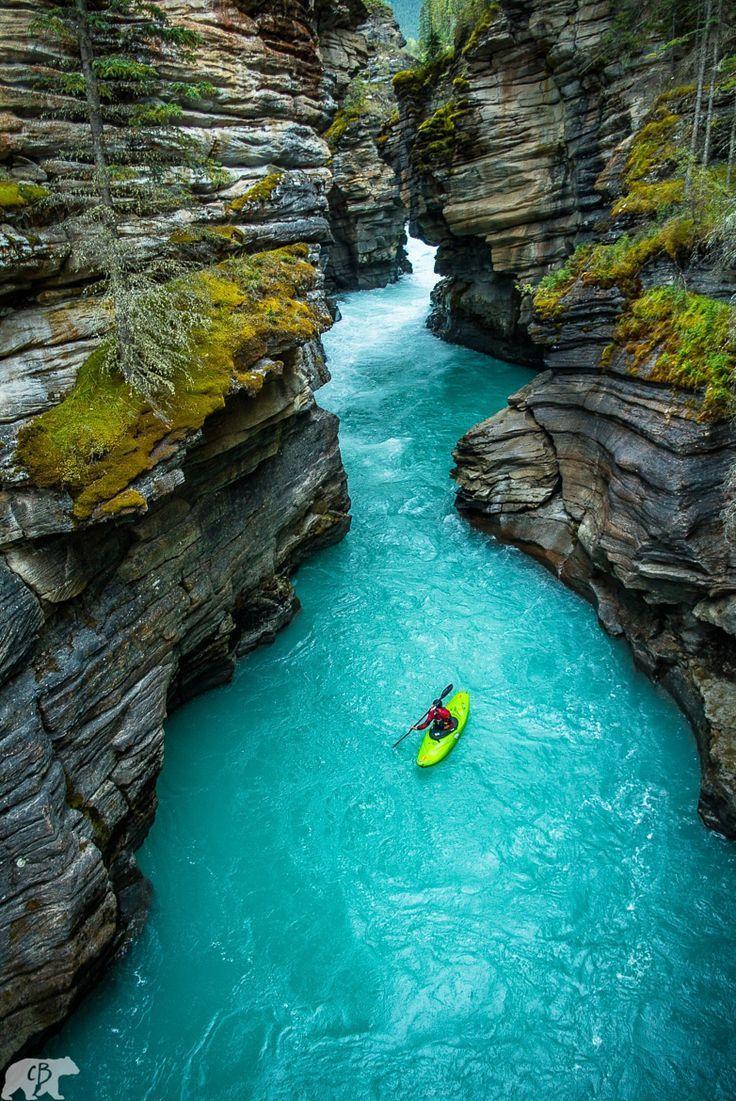 Athabasca Falls Canyon in Jasper National Park, Alberta, Canada: