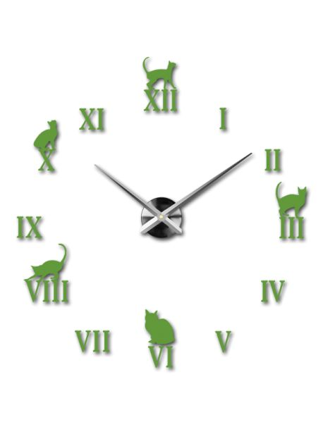 Moderní dekorační nástěnné hodiny - Černá kočka Kód:  12S020-RAL6018-S-COLOR** Vyber si barvu podle sebe! Přišel čas zútulnit si své bydlení novými hodinami. Velké nástěnné 3D hodiny jsou krásnou dekorací Vašeho interiéru. Už nikdy nebudete opozdí.