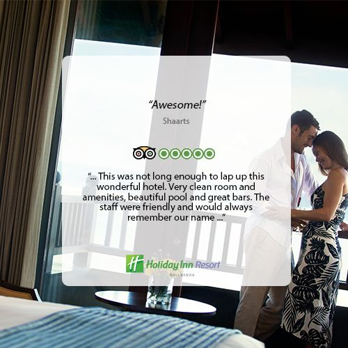 Thank you for your lovely review! We are happy to know you are satisfied during your stay at our resort. #holidayinn #holidayinnbalibenoa #resortbali #bali #hotelbali #travelling #travel #holiday #explorebali #balieveryday #bestvacation #vacation #balipromotion #2016 #igdaily #ihg #instagood #photooftheday #fun #love #beautiful #nice #beach #nusadua #wonderfulindonesia #baliescape