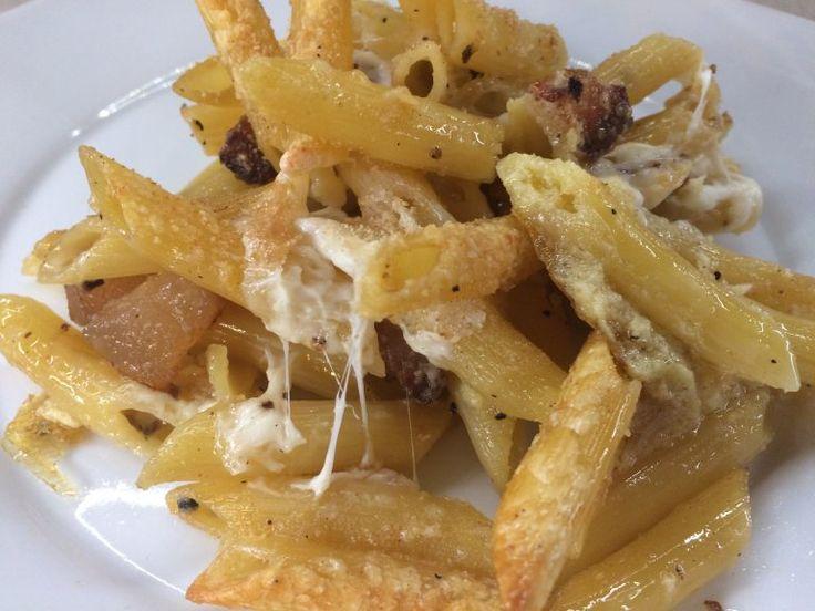 Pasta al forno bianca con pancetta #pastaalforno #pancetta