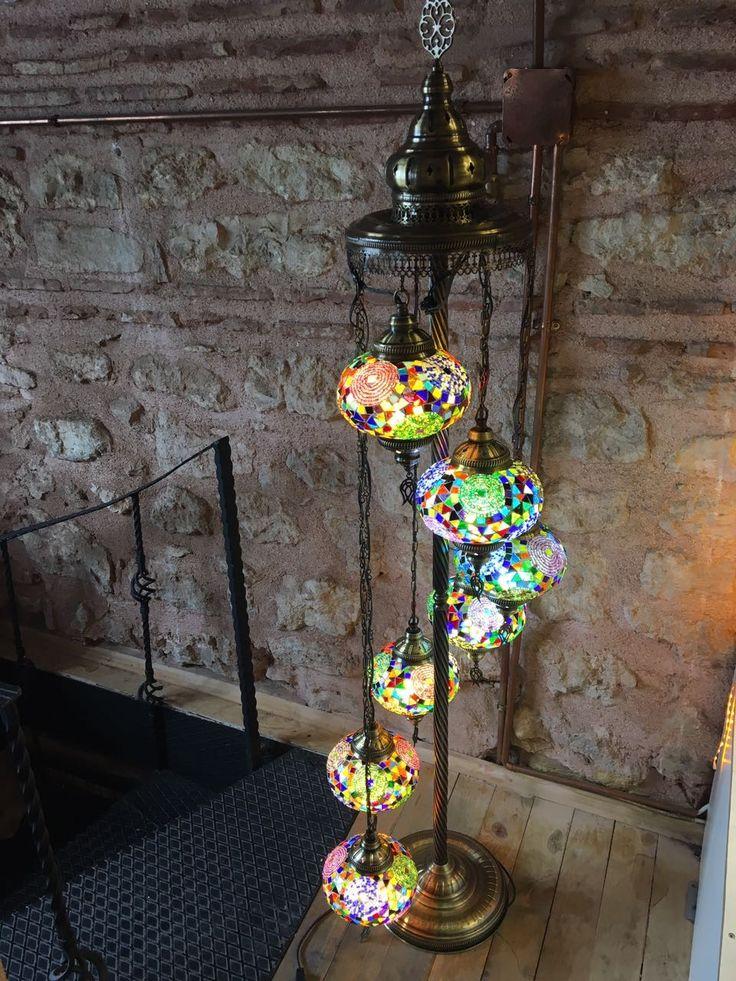 HANDMADE TURKISH MOSAIC FLOOR LAMP, 7 LAMPS