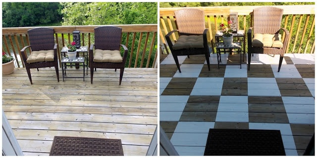 Checkerboard painted deck floor - great way to spruce up a tired deck!