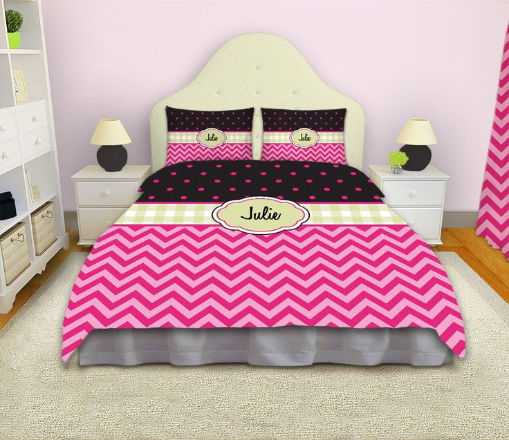 Kids Comforters, Chevron Bedding, Teen Comforter Sets, Pink Bedding, Personalized Comforter, Polka Dot Bedding,  #73 by EloquentInnovations on Etsy https://www.etsy.com/listing/201965647/kids-comforters-chevron-bedding-teen