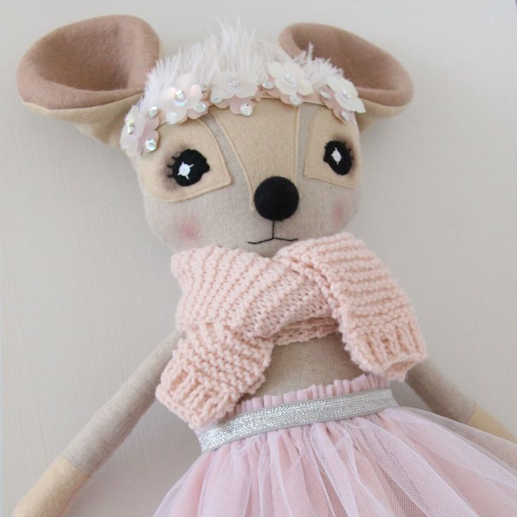 Candy Pink Hand-Knit, Ostrich Feather & Paillette Delphine Dormouse - Thicket & Thimble