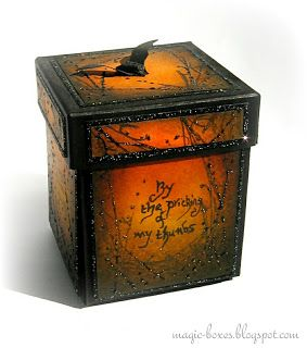 Magic boxes: Exploding boxes with a difference Miniature Broomstick Tutorial: posted by Elaine This is really easy and very messy to make so don't have a go if you've just had your nails done! It's a great size to add as a spooky embellishment on the front of a card...