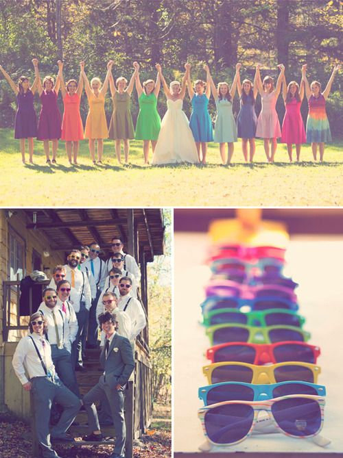 i really love this idea....different color bridesmaids dresses and sunglasses  :)