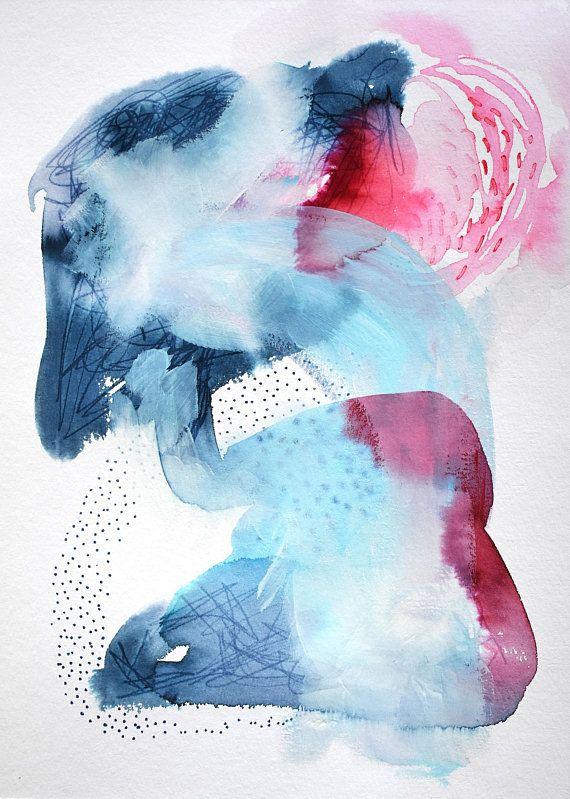Abstrakte Malerei Aquarell Acryl Und Marker Auf Papier Kunst