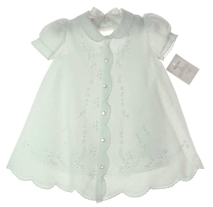 NEW Vintage Style White Cotton Christening Gown with Delicate Embroidery and Scalloped Collar