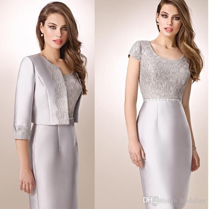 Silver Mother Of Bride Lace Dresses 2016 With Jacket Knee Length Vintage Lace Short Mother Of The Groom 2016 Wedding Guest Dresses Party Gow